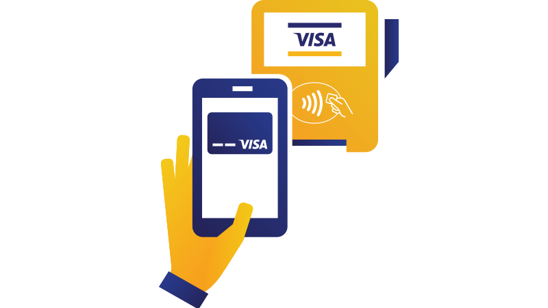 Illustration of a hand holding a mobile phone being held over a checkout terminal displaying the Contactless Symbol.