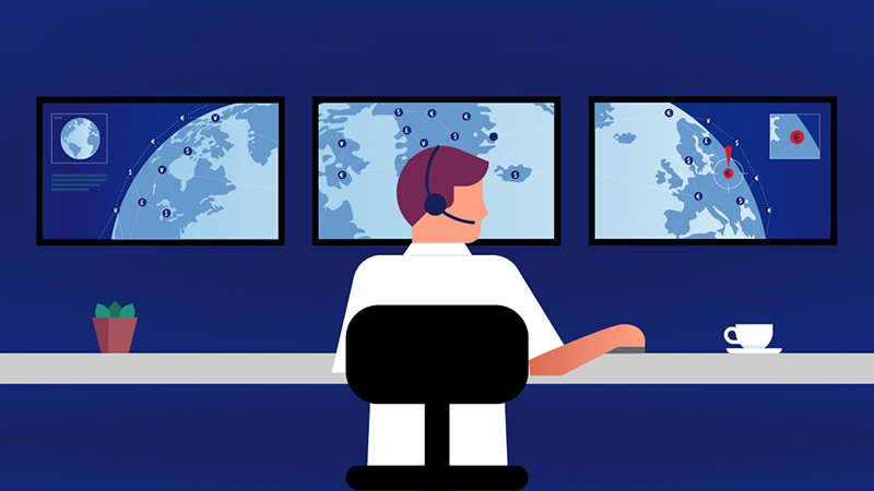 Illustration of person at a computer control center.