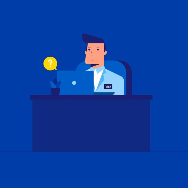 illustration of a man sitting at a desk while looking at a laptop monitor