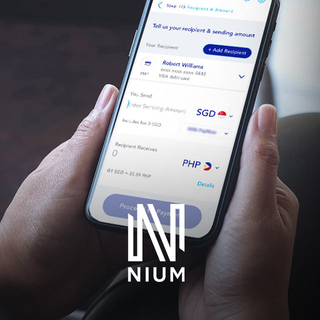 Nium app on smartphone with Nium logo at the bottom.