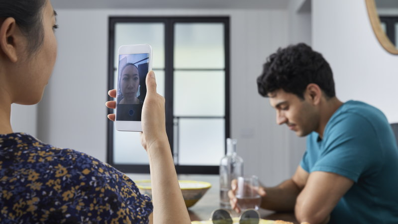 Woman using video chat